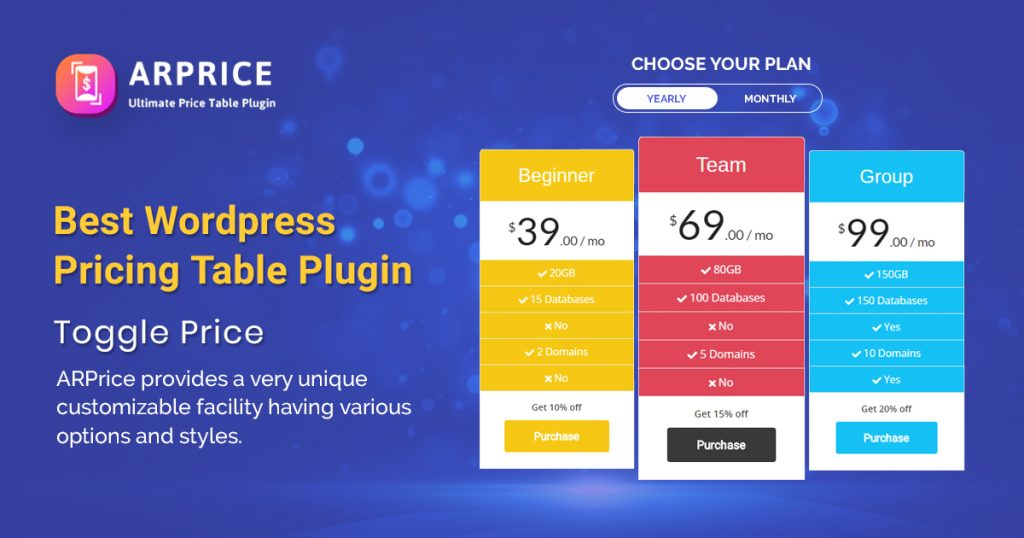 Best WordPress Pricing Table Plugin For WP site – ARPrice